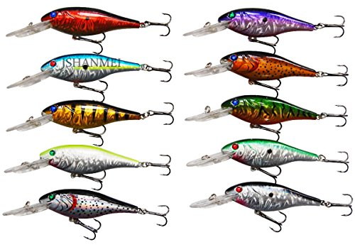 Fishing Hat Saltwater - JSHANMEI 10pcs/lot Life-like Plastic Minnow Fishing Lures Baits Deep Diver Sinking Bass Crankbaits with 3D Fishing Eyes Two Treble Hooks