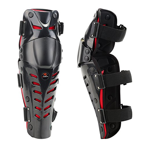 (RIDBIKER 1 Pair of Movable Knee Shin Guard Pads Three Sections 2Pcs Breathable Adjustable Knee Cap Pads Protector Armor for Motorcycle Cycling Racing,Red)