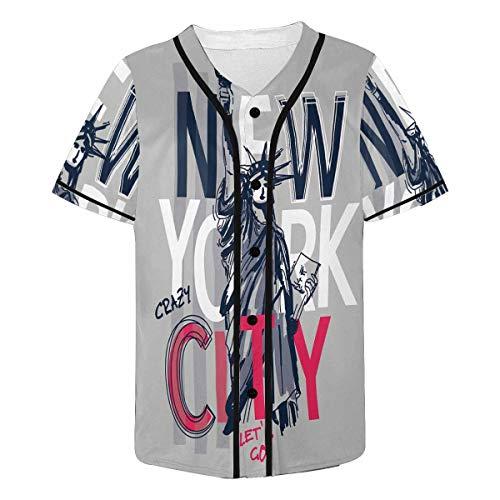 InterestPrint Men's Statue of Liberty New York City Baseball Jersey T-Shirts Plain Button Down Sports Tee ()