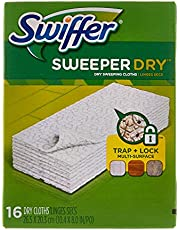 Swiffer Sweeper Dry Sweeping Pad, Multi Surface Refills For Dusters Floor Mop, Unscented, 16 Count