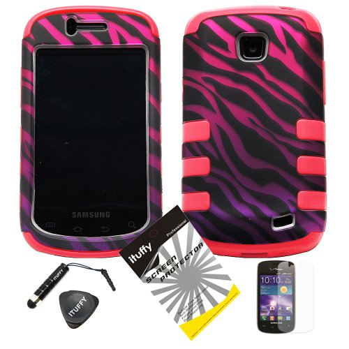 4 items Combo: ITUFFY LCD Screen Protector Film + Mini Stylus Pen + Case Opener + Black Pink Purple Zebra Design Rubberized Hard Plastic + PINK Soft Rubber TPU Skin - Zebra Skin Hard Protector