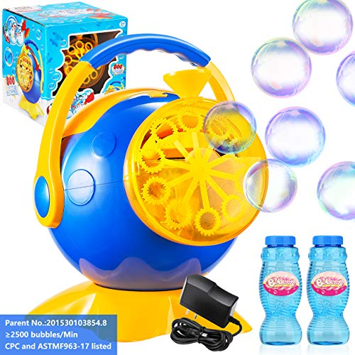 Kids Bubble Machines Durable Professional Automatic Portable For Children,Babies,Toddlers,Adults,Bubble Makers Plug In And Battery Operated Bubble Blowers Outdoor Parties Weddings Birthday Camping