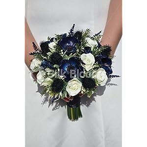 Midnight Blue Anemone, Scottish Thistle & White Fresh Touch Rose Bridal Wedding Bouquet 83
