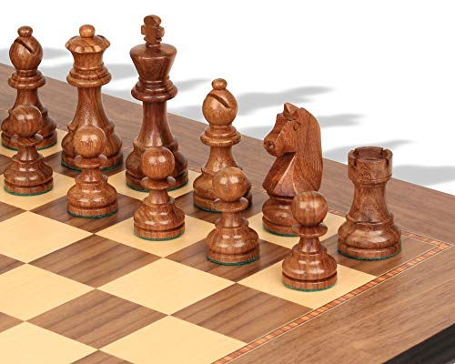 German Knight Staunton Chess Set Golden Rosewood & Boxwood Pieces with Walnut Molded Chess Board - 2.75