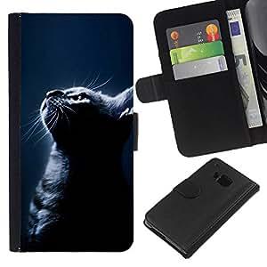 Black Cat Night American Shorthair - la tarjeta de Crédito Slots PU Funda de cuero Monedero caso cubierta de piel HTC One M9