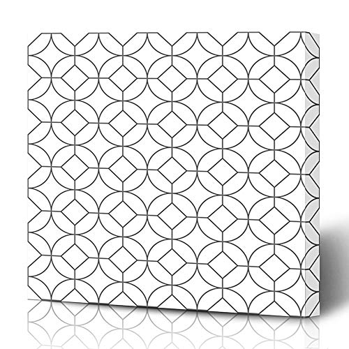 (Ahawoso Canvas Prints Wall Art 12x16 Inches Artistic Gray Abstract Geometric Pattern Squares Circles Graphic Silver Antique Arab Arabesque Arabian Arabic Art Decor for Living Room Office Bedroom)