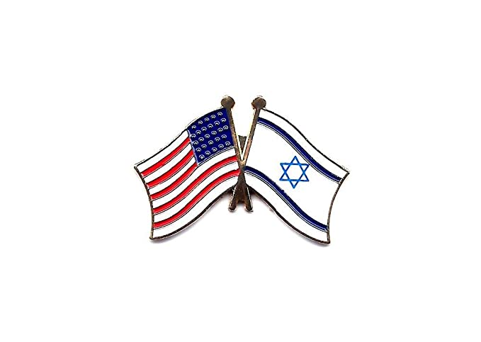 Wholesale Lot Of 12 Israel And USA Flags Crossing Lapel Hat Pin PPM6055