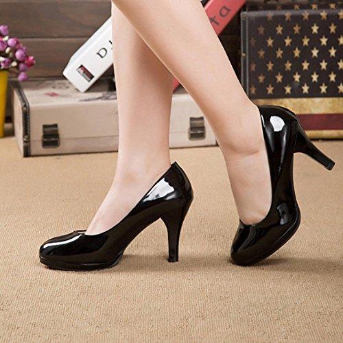 FEITONG Primavera Casual Mujer Oficina boca baja zapatos redonda dedo del pie Zapatos gruesos del tacón alto Negro