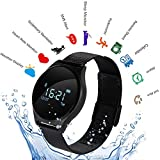 Hangang Fitness Tracker, Customized Activity Tracker with Heart Rate Monitor, Sports Modes Smart Watch Waterproof Pedometer for Men, Women and Kids (Black-Steel)