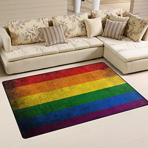 Naanle Gay Flag Non Slip Area Rug for Living Dinning Room Be