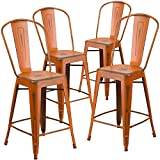 "Flash Furniture 4 Pk. 24"" High Distressed Orange Metal Indoor-Outdoor Counter Height Stool with Back Review"