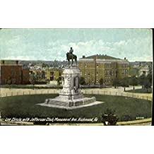 Lee Circle With Jefferson Club, Monument Ave Richmond, Virginia Original Vintage Postcard