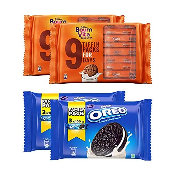Cadbury Biscuits Family Pack Combo Bournvita Tiffin, 250g (Pack of 2) and Oreo Vanilla Family Pack, 300g (Pack of 2)