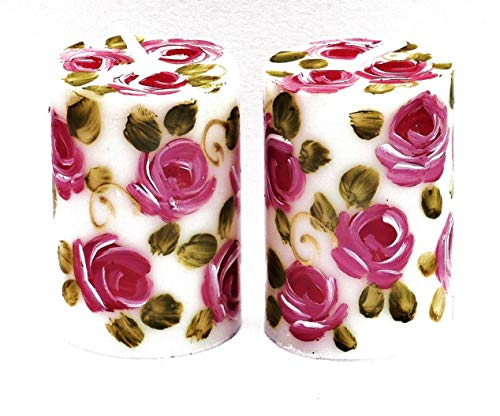 Decorative Hand Painted Pink Rose Small White Votive Candles Gift Set of Two Romantic Shabby Chic Home - Hand Painted Candle Roses