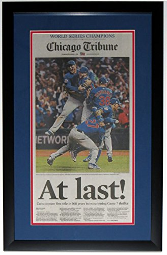 CHICAGO CUBS 2016 WORLD SERIES CHICAGO TRIBUNE NEWSPAPER 11/3/16 - PROFESSIONALLY FRAMED 14x28 ()