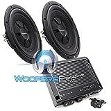 pkg Rockford Fosgate R500X1D Monoblock 500W RMS Amplifier + Pair of R2SD2-1212' Dual 2-Ohm Subwoofers