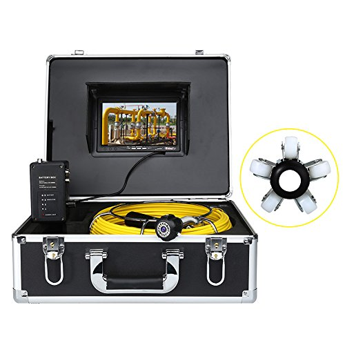 Eyoyo Pipe Pipeline Sewer Inspection Camera 30m Drain Industrial Endoscope Video Plumbing System with 7 Inch LCD Monitor 1000TVL DVR Recorder Snake Cam (8GB SD Card Include)