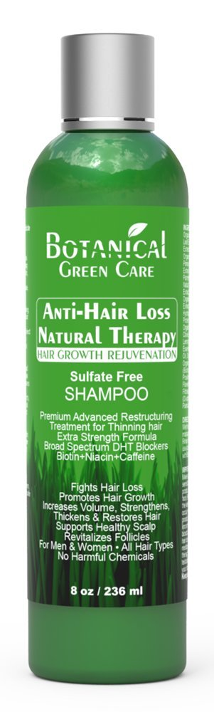 Anti-Hair Loss Natural Therapy Premium Organic Sulfate-Free Caffeine Shampoo. Hair Growth Scalp Stimulating Botanical Formula.