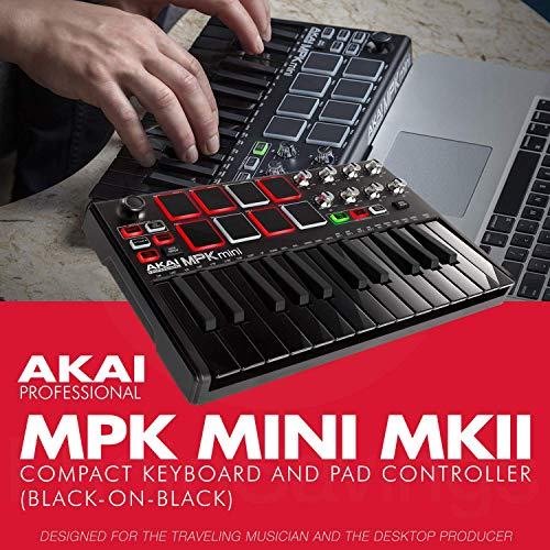 Akai Professional MPK Mini MKII 25-Key Ultra-Portable USB MIDI Drum Pad & Keyboard Controller (Black on Black with Headphones & Pro Audio Cable Bundle