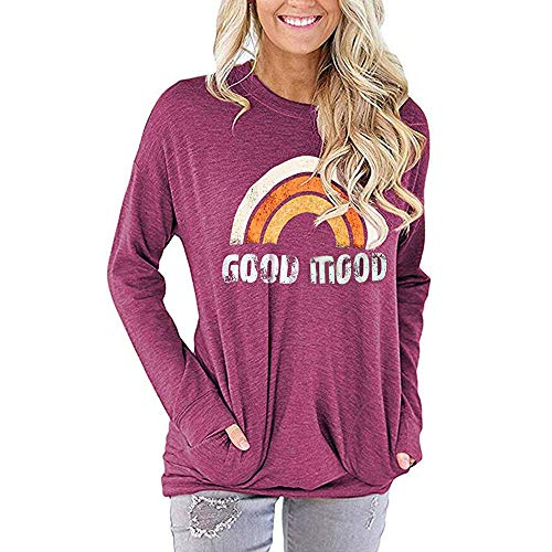 Women's Blouse Impresión del Arco Iris Long Sleeve Blouse Loose Tunic Sweatshirt Hoodie Tops