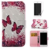 For iphone 7/iphone 8 Case with Card Slot,OYIME [Red Butterfly Flowers] 3D Glitter Pattern Design Bookstyle Leather Wallet Holster Kickstand Function Full Body Protective Bumper Magnetic Closure Flip Cover with Wrist Lanyard and Screen Protector