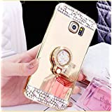 Galaxy Note 5 Luxury Rhinestone Makeup Case,Auroralove Samsung Galaxy Note 5 Handmade Bling Diamond Soft TPU Mirror Glass Case for Girls Women with Detachable Ring Stand-Gold