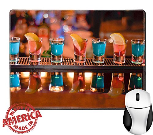 "Luxlady Natural Rubber Mouse Pad/Mat with Stitched Edges 9.8"" x 7.9"" Row of shots on the bar tequila and blue curacao IMAGE ID 7989476"