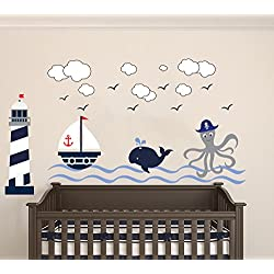 "Nautical Theme - The Wonderful Sea World Sailor Children's Room Kids Room Baby Nursery Playroom Wall Decal Mural Vinyl Transfer Wall Art (AM) (Wide 50"" x 28"" Height)"