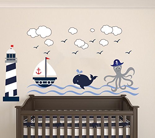 Nautical Theme - The Wonderful Sea World Sailor Children's Room Kids Room Baby Nursery Playroom Wall Decal Mural Vinyl Transfer Wall Art (AM) (Wide 50