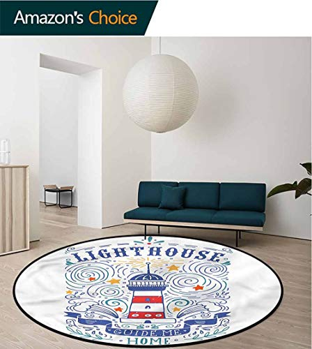 (RUGSMAT Lighthouse Warm Soft Cotton Luxury Plush Baby Rugs,Vintage Sketch Stars Home Decor Foor Carpet Round-71)