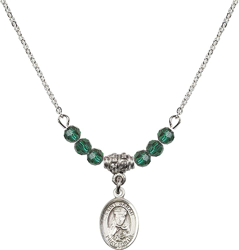 18-Inch Rhodium Plated Necklace with 4mm Emerald Birthstone Beads and Sterling Silver Saint Sarah Charm.