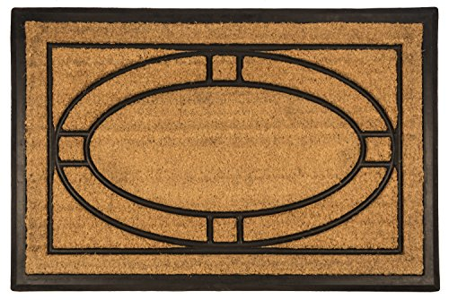 Entryways Ellipse All Natural Coconut Fiber Coir,  Recycled Rubber and Natural Latex  Bootscraper Doormat,  24