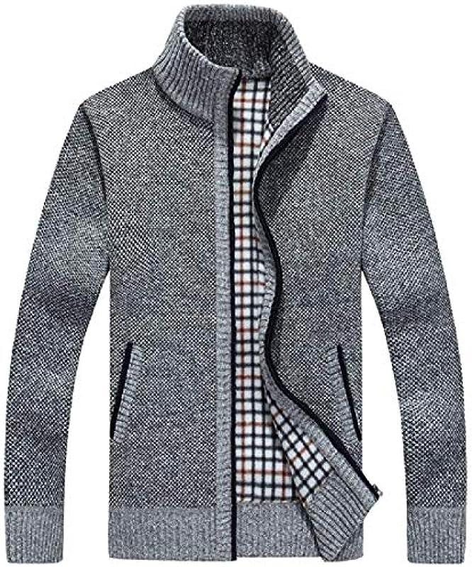 Men Open Front Cardigan Fashion Knitted Slim Zip-Up Solid Cardigan Pockets: Odzież