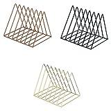 B Blesiya 3pcs Nordic Minimalist Iron Wire Desktop Bookshelf Holder for Home Office Newspaper Magazine Organizing