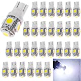 30-Pack 194 White LED Light 12V,120Lum 6500k AMAZENAR Car Interior and Exterior T10 5-SMD 5050 Chips Replacement For W5W 168 2825 Map- Dome- Courtesy- License Plate- Dashboard Side Marker Light
