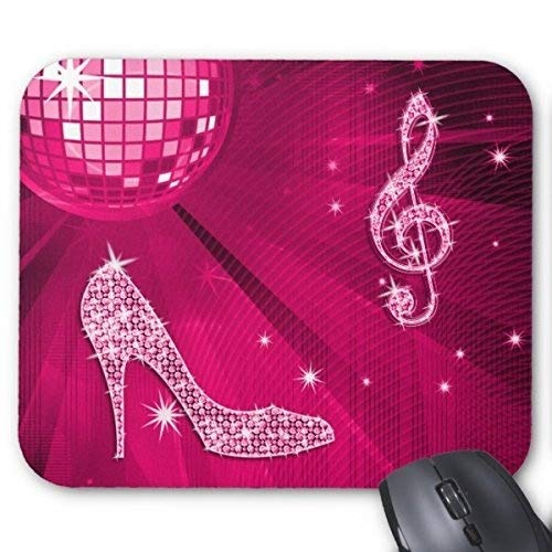 Customized Rubber Mousepad Gaming Mouse pad Sparkly Hot Pink Music Note and Stiletto Heel Mouse pad -