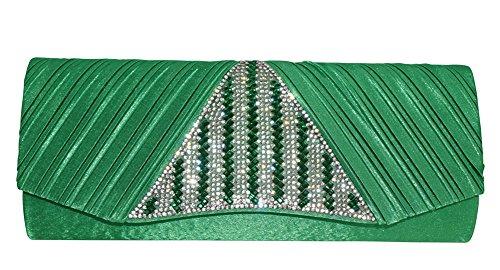 Chicastic Satin Clutch Purse With Rhinestone Bridal Wedding Evening - Green Triangle