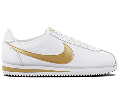 huge selection of 49d82 c236c Nike Women's WMNS Classic Cortez Leather HK, White/Gold-White, Size 6.5