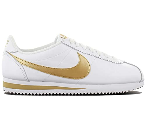 huge selection of 3ca96 acfb0 Nike Women's WMNS Classic Cortez Leather HK, White/Gold-White, Size 6.5