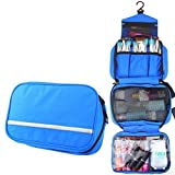 MLMSY Travel Toiletry Bag Cosmetic Organizers with Hanging Hook Use in Hotel,Bathroom (Toiletry Bag, Blue)