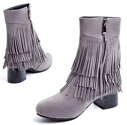 Idifu Kvinna Snygga Tasseled Fransar Mitten Chunky Klackar Ridning Boots Med Dragkedja Grå