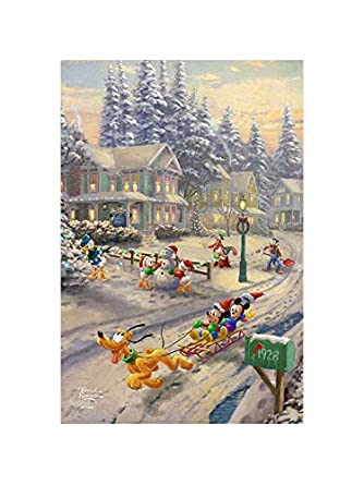 Flagology Com Thomas Kinkade Mickey S Friends Victorian Christmas Garden Flag 12 5 X 18 House Flag 28 X 40 Printed On Both Sides Licensed Thomas Kinkade Christmas 12 5 X 18