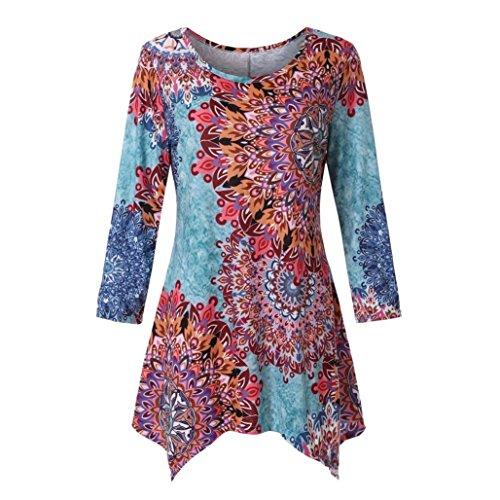 Chemisier Shirts Multicolore T Shirts T Femme Lache Blouse Bringbring Floral Longues Manches Imprimer Tops BOgO5wx