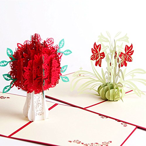Paper Spiritz Rose Daffodil Flower 3D Pop up Card for Her Him Creative Handmade Birthday Greeting Card Laser Cut with Envelope Best Wishes Anniversary Gift Postcard (Pack of 2) - Birthday Greeting Card For Him