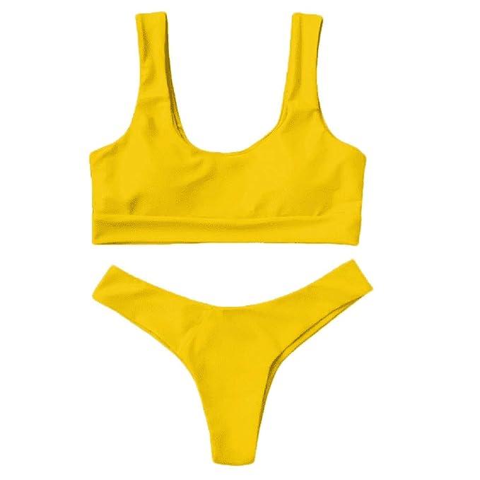 Traje de Baño Mujer 2019 SHOBDW Moda Cómodo Traje de Baño Mujer Dos Piezas Acolchado Bra Conjunto de Bikini Push Up Tanga Traje de Baño Mujer Talle ...