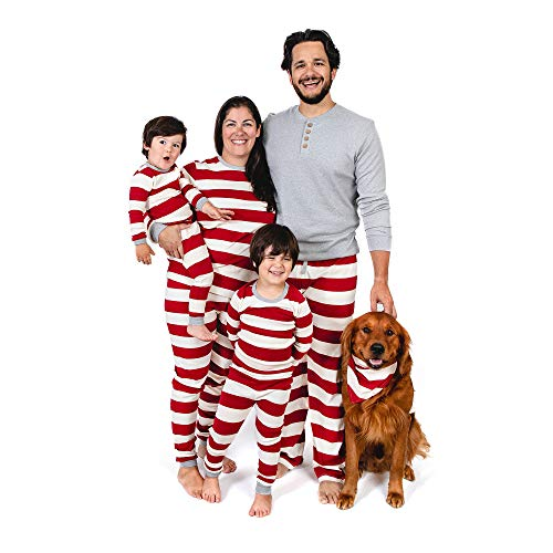 Burt's Bees Baby Family Jammies, Holiday Matching Pajamas, 100% Organic Cotton PJs, Red Rugby Stripes, Sleeper: 18 Months