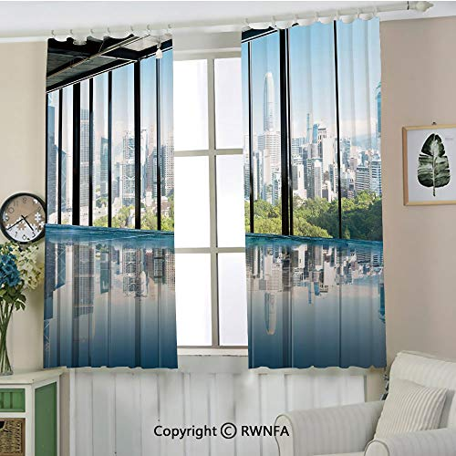 RWNFA Printed Patterns Curtains.Metropolitan Cityscape of New York USA in Central Park Forest Photo Blackout Draperies.Set of 2 Panels(72
