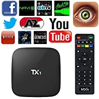 EXW TX1 Amlogic S805 Quad Core Smart TV Box With Xbmc Pre-installed Android 4.4 Kitkat System H.265 Wifi LAN Miracast Airplay Player 1G RAM 8G ROM (TX1 S805)