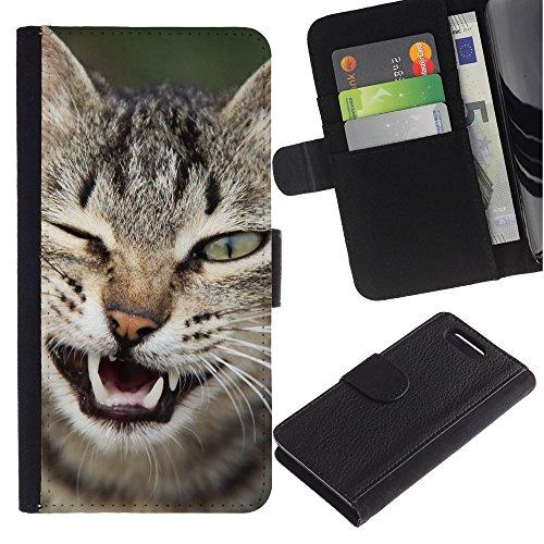 LASTONE PHONE CASE / Lujo Billetera de Cuero Caso del tirón Titular de la tarjeta Flip Carcasa Funda para Sony Xperia Z1 Compact D5503 / Wink Cat American Shorthair Manx