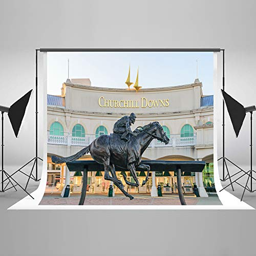 (Kate 10x8ft Kentucky Horse Track Background for Photography Statue Photo Backdrop Photo Booth Props)